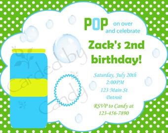 Bubbles Birthday Party Invitation 5x7