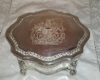 Dieu et Mon Droit - Crest of Royalty - Vintage Velvet Lined Jewelry Trinket box