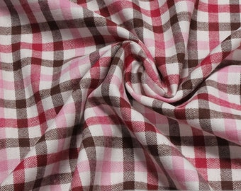 Fabric pure cotton flanell check ecru dark brown hot pink crease-resistant