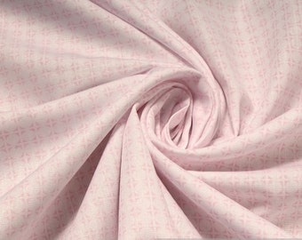 Fabric pure cotton poplin circle white pink dot
