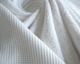Fabric pure cotton terry cloth honeycomb white towelling toweling