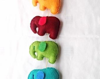 Rainbow felt elephant wall hanging