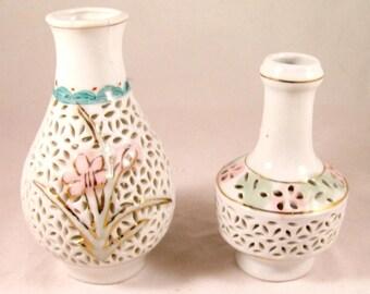 2 Vintage Reticulated Porcelain Vases