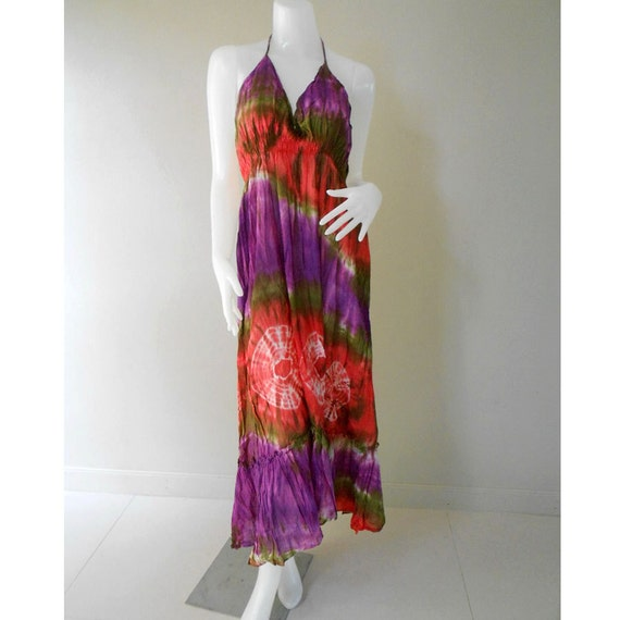 Beautiful M-XL Hippie Gypsy  Colorful Tie Dye Cotton Maxi Dress,Halter Smock Summer Colorful Sundress (DMSS346)