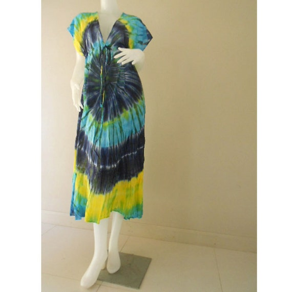 Boho Blue Tie Dye Cotton New Tropical Handmade Maxi Gypsy Summer Beach Kimono Dress (TD 25)