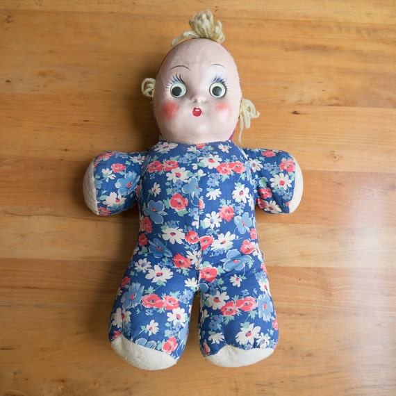 "Rare Lg. 18"" 1940s Composition and Rag Doll with Googly Eyes and Yarn Hair / European Style So Sweet!"