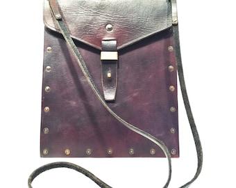 Riveted Leather Satchel Tote Messenger iPad Bag