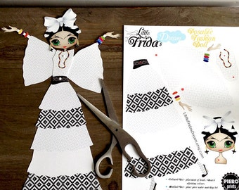"Little Frida's Dream Articulated Paper Doll 13 1/2"" Tall (Design 5)"