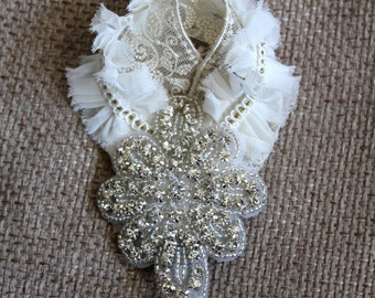Bridal hair clip - Ivory & rhinestone applique
