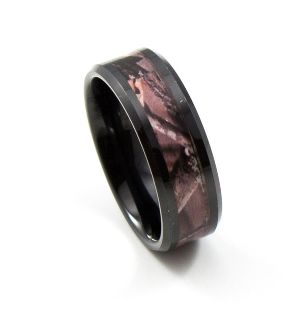 Black camo tungsten carbide wedding band men39s by for Tungsten camo wedding rings