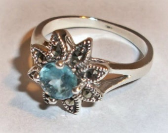 Sterling Silver Blue Topaz and Marcasite Flower Ring (7)