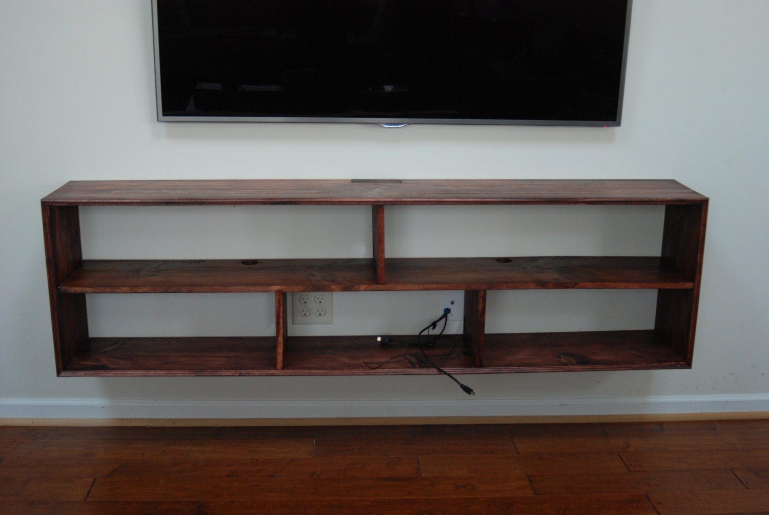 6 39 wall mounted media electronics shelf. Black Bedroom Furniture Sets. Home Design Ideas