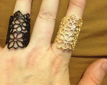 CLEARANCE Gold tone or black filligree knuckle ring or ear cuff -Belly dance, boho, gypsy, body jewelry cuff etc