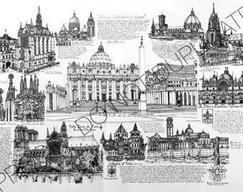 Cathedrals of Europe Ink Drawing