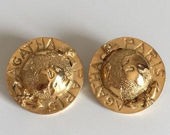 Vintage Agatha Paris Globe Gold Tone Clip Earrings