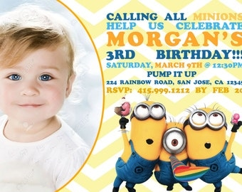 Despicable Me Minion Birthday Party Invitation Personalized - Minions birthday invitation images