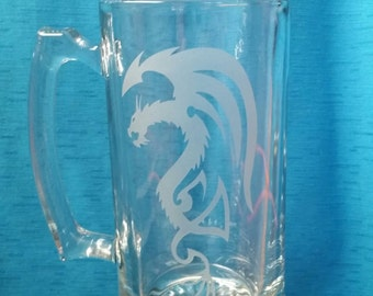 Tribal Dragon Sand Etched Glass Sport Mug 26.5 Oz