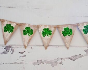 Glittered Shamrock Banner,  St. Patrick's day Banner, Glittered Clover Burlap Banner, St. Paddy's Day Banner, B063