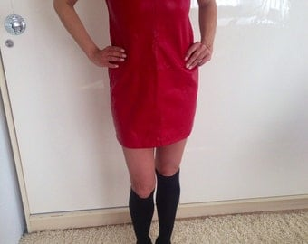 Dress/red dress/red leather dress/tunic