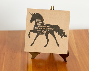 "FREE SHIPPING!! Handmade Unicorn card ""I think you are made of sunshine, and pixie dust, and rainbows, and magic!"""