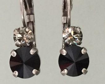 Crystal Drop Earrings, Crystal Leverback Earrings, Jet Crystal Earrings, Swarovski Jet Earrings