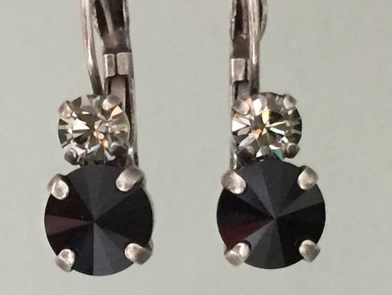 Black Diamond and Jet Swarovski Crystal Earrings, Antique Silver