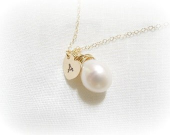 Freshwater pearl initial gold filled necklace. Teardrop pearl.  Bridesmaids necklace. Heart initial necklace. Personalized necklace