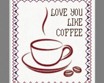 Love You Like Coffee Sampler Cross Stitch Kit (24 x 28cm)