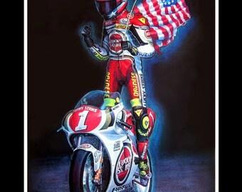 Kevin Schwantz Moto GP 1993 World Champion Suzuki Motorcycle (A3) Giclee Print