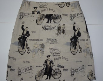 Nostalgic bikes skirt, A-line skirt, black, dots, print, size EU 38/40 (USA 8/10 - UK 10/12), cotton, zipper