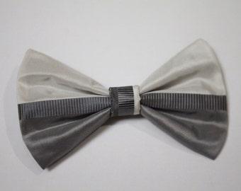 100% Silk Two-Toned Grey/White Bow
