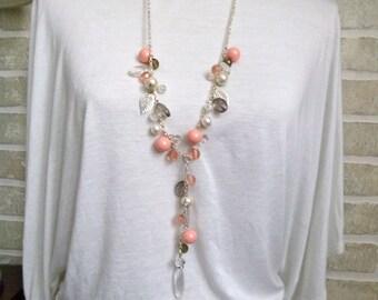 peach and pink swarovski  V necklace
