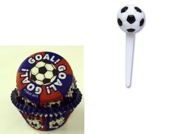 Soccer Cupcake Picks with 12 Soccer themed Baking Cups