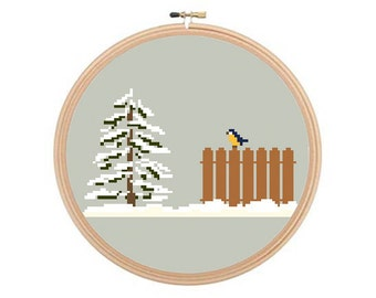 Winter Scene - cross stitch pattern PDF, Winter Pattern, Winter Cross Stitch, Snowy Scene Pattern, Bird Cross Stitch, Modern Cross Stitch