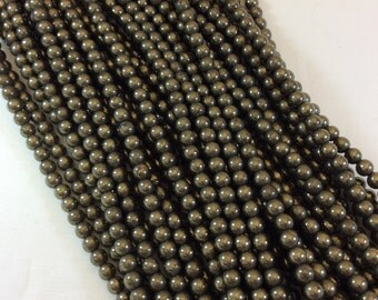 4mm Pyrite Round Bead Strand, approx. 105 beads per strand