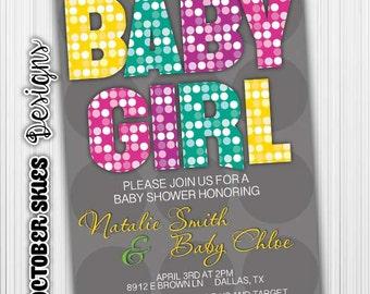 Polka Dots Baby Girl Baby Shower -Invitation- Printable- Digital File