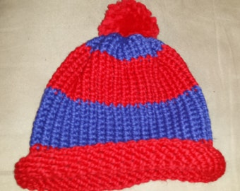 Chalet and Cobalt Adult Hat With Pom Pom