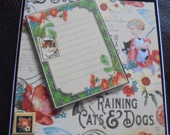 Cat stamp card. Card for a cat lover. Cat lover's card. Kitten on a card. Cat on a card. Raining cats and dogs. Cat appreciation. Cat owner.