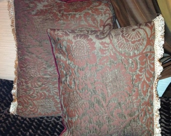 Pair of two Burgandy and Tarnished Gold Pillows with Loop Trim