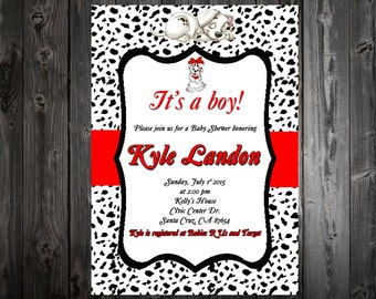 Dalmatians baby shower invitation, Dalmation baby boy shower, custom and printable, baby announcement card