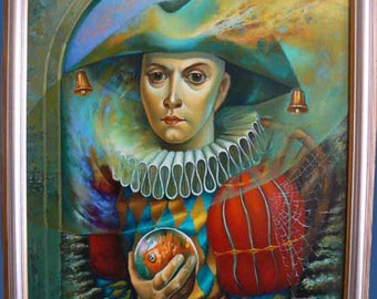 Who has been captured, Original oil painting on italian canvas, Jester captured by the power of money, materialism,painting in blue and red