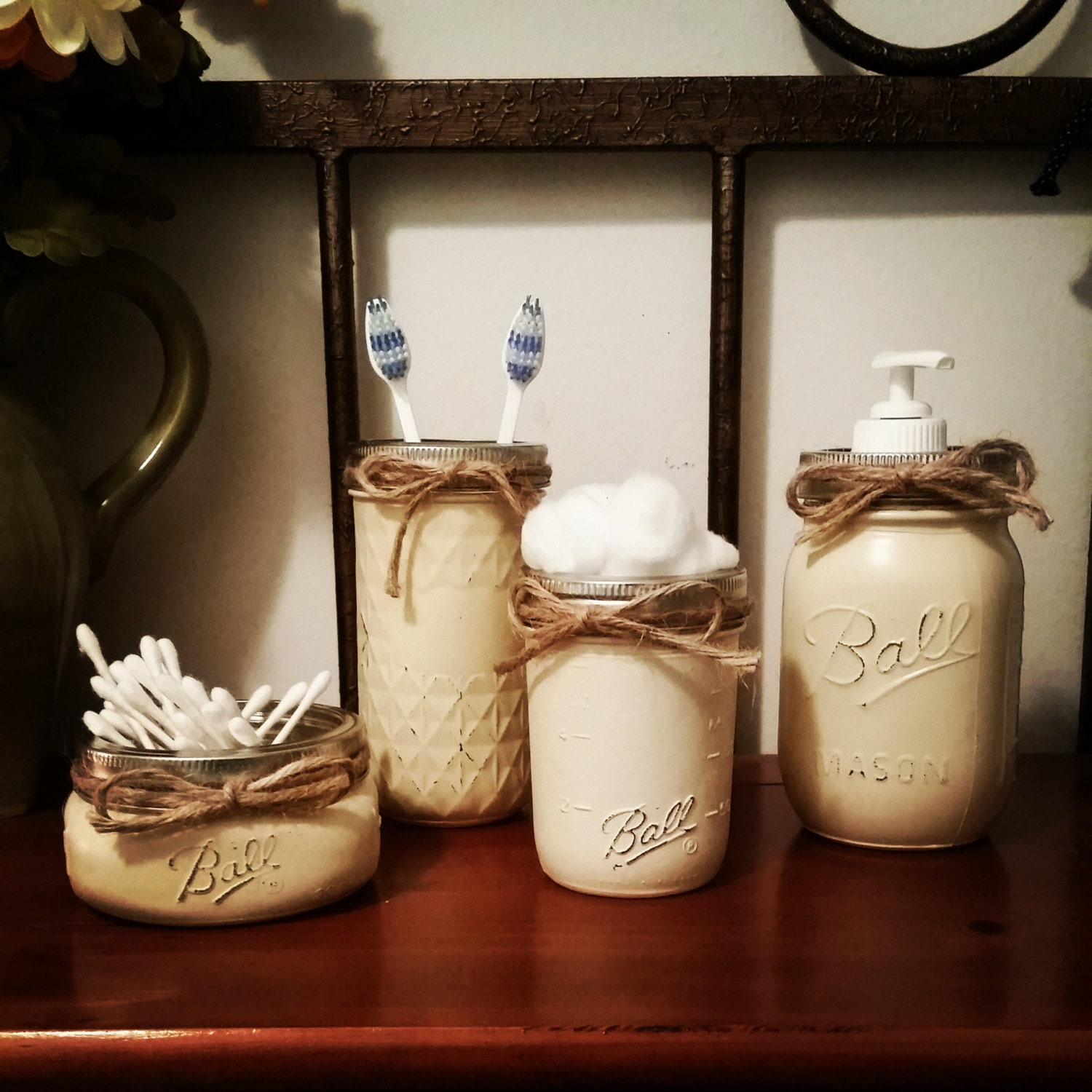 Rustic home decor mason jar bathroom set by therusticthorn for Bathroom decor etsy
