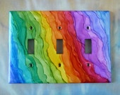 Rainbow Waves - Choose Your Style of Switch Cover, Painted with Alcohol Ink