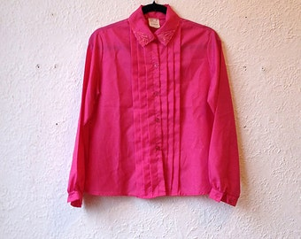 Blouse pink vintage, shirt, blouse, embroidery.