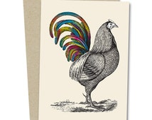 Rainbow Rooster Greetings Card