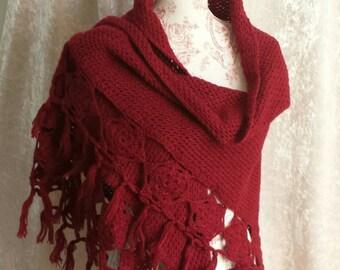 Vintage Handmade Crochet Shawl Burgundy / Wine Shawl
