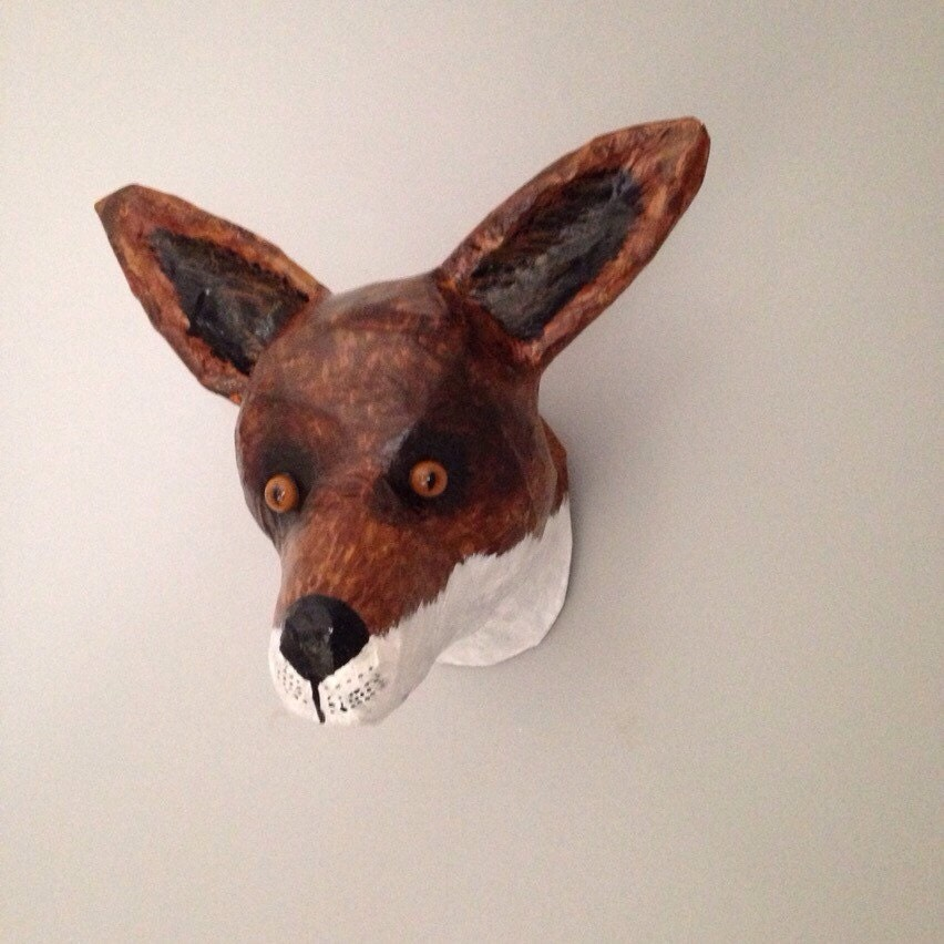 Paper Mache Fox Head Faux Taxidermy Fox By