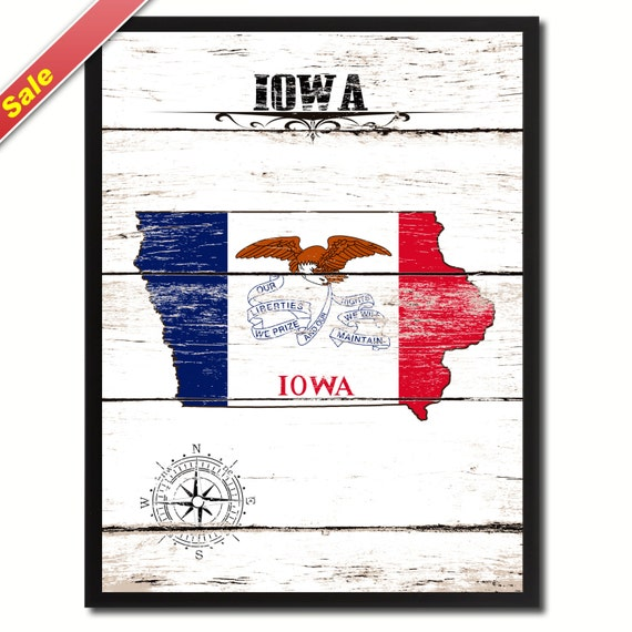 Iowa State Flag White Map SPECIAL SALE Modern by AllChalkboard