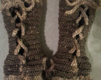 Yarntivity Cozy Lace Up Fingerless Gloves - FREE Shipping