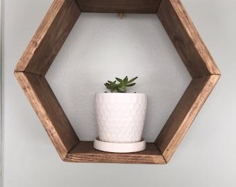 Wood hexagon shelf. Geometric shelf. Wall hanging. Wall decor